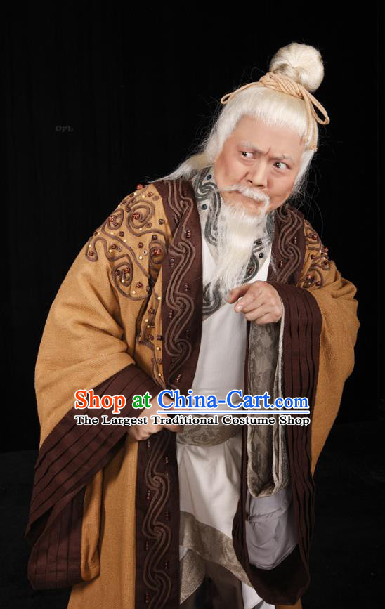 Yu Hai Kuang Chao Chinese Sichuan Opera Old Man Apparels Costumes and Headpieces Peking Opera Elderly Landlord Garment Clothing