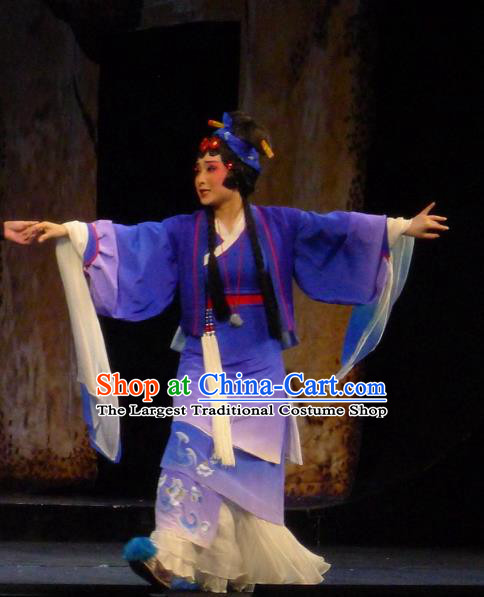 Chinese Sichuan Opera Maidservant Du Juan Costumes and Hair Accessories Hui Lan Ji Traditional Peking Opera Young Female Dress Actress Purple Apparels