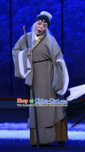 Chinese Ping Opera Elderly Female Apparels Costumes and Headpieces Traditional Pingju Opera Beggar Woman Dress Garment