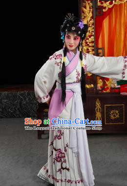 Chinese Sichuan Opera Servant Girl Yan Yan Costumes and Hair Accessories Traditional Peking Opera Xiaodan Dress Young Lady Apparels
