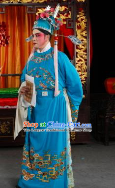 Yan Yan Chinese Sichuan Opera Young Male Apparels Costumes and Headpieces Peking Opera Scholar Garment Childe Li Weide Clothing