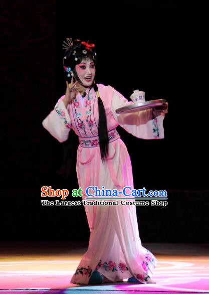 Chinese Sichuan Opera Xiaodan Costumes and Hair Accessories Traditional Peking Opera Young Lady Pink Dress Servant Girl Yan Yan Apparels