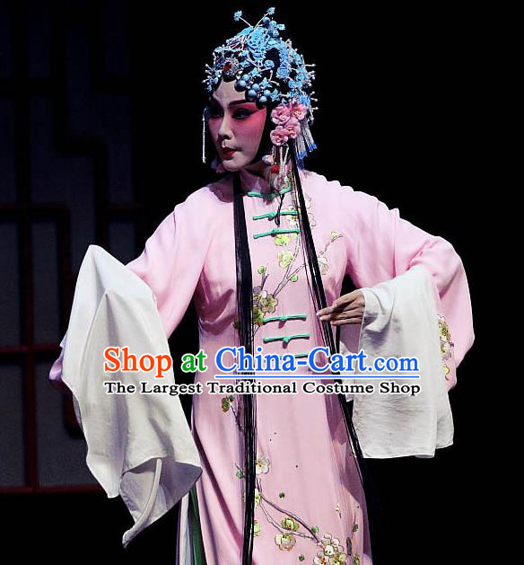 Chinese Ping Opera Diva Zhao Jintang Apparels Costumes and Headpieces Traditional Pingju Opera Hua Tan Pink Dress Garment