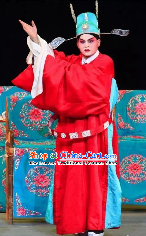 Fen Xiang Ji Chinese Sichuan Opera Number One Scholar Apparels Costumes and Headpieces Peking Opera Xiaosheng Garment Young Male Wang Kui Clothing