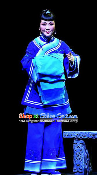 Chinese Ping Opera Elderly Female Apparels Costumes and Headpieces Jin E Traditional Pingju Opera Foster Woman Dress Garment