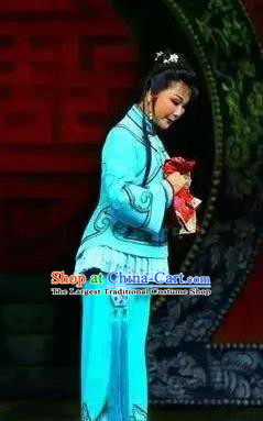 Chinese Ping Opera Young Lady Apparels Costumes and Headpieces Jin E Traditional Pingju Opera Country Girl Dress Garment