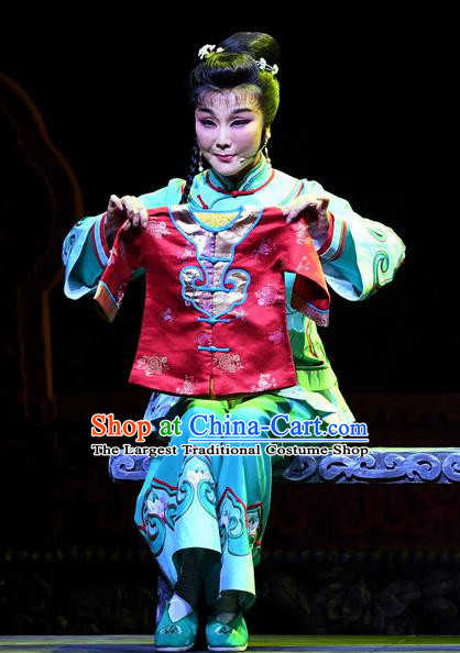 Chinese Ping Opera Female Servant Apparels Costumes and Headpieces Jin E Traditional Pingju Opera Country Woman Dress Garment