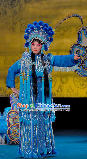 Chinese Sichuan Opera The Legend of White Snake Xiao Qing Garment Costumes and Hair Accessories Traditional Peking Opera Martial Female Blue Dress Apparels