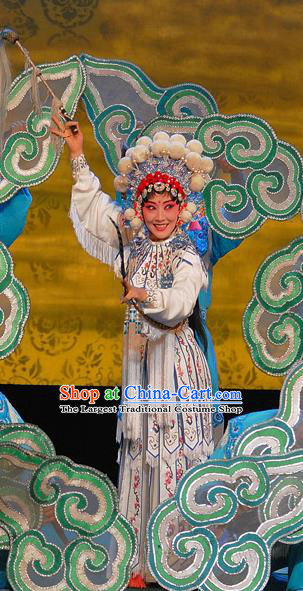 Chinese Sichuan Opera The Legend of White Snake Garment Costumes and Hair Accessories Traditional Peking Opera Wudan Dress Martial Female Bai Suzhen Apparels