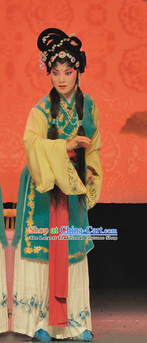 Chinese Sichuan Opera Servant Girl The Legend of White Snake Garment Costumes and Hair Accessories Traditional Peking Opera Xiaodan Dress Young Lady Apparels