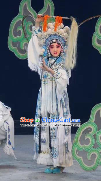 Chinese Sichuan Opera Swordswoman The Legend of White Snake Garment Costumes and Hair Accessories Traditional Peking Opera Tao Ma Tan Dress Bai Suzhen Apparels