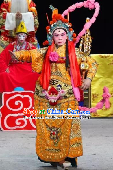 The Legend of White Snake Chinese Sichuan Opera Martial Male Apparels Costumes and Headpieces Peking Opera Er Lang God Garment General Armor Clothing