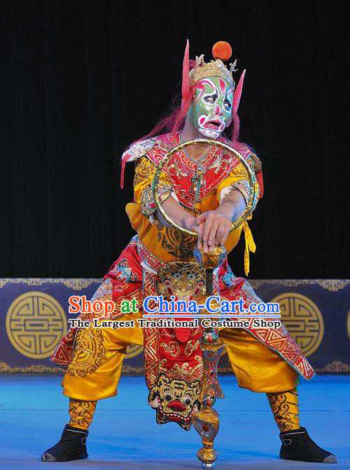 The Legend of White Snake Chinese Sichuan Opera Martial Male Apparels Costumes and Headpieces Peking Opera Wusheng Garment Soldier Red Clothing