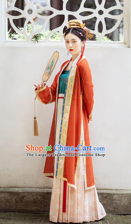 Chinese Ancient Imperial Concubine Embroidered Hanfu Dress Traditional Song Dynasty Court Women Historical Costumes Complete Set