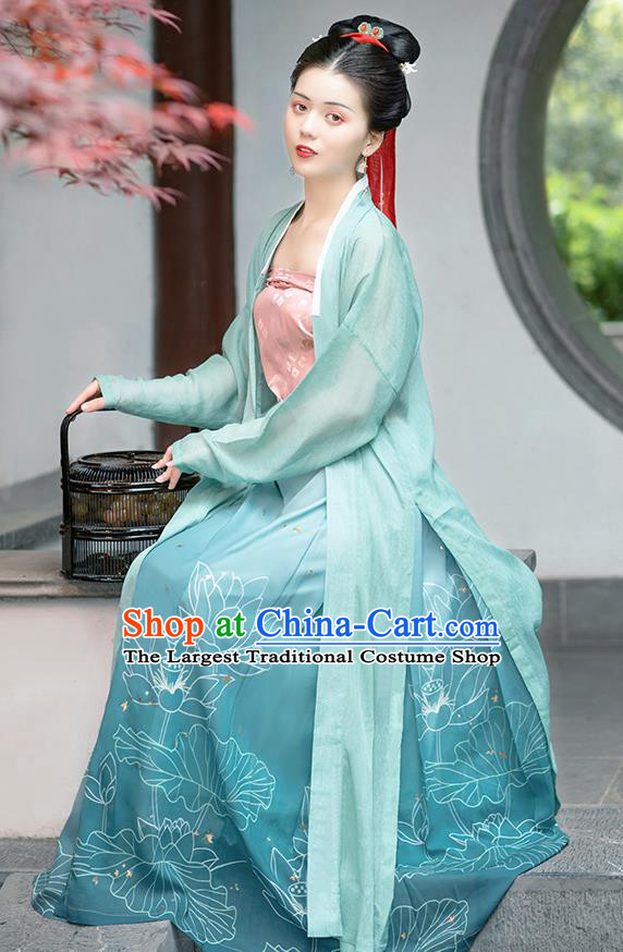Chinese Ancient Young Lady Hanfu Dress Garment Traditional Song Dynasty Civilian Female Historical Costumes Complete Set