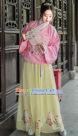 Chinese Traditional Hanfu Dress Ancient Ming Dynasty Historical Costumes Palace Princess Apparels for Women