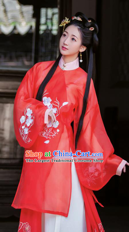 Chinese Traditional Ming Dynasty Embroidered Hanfu Dress Ancient Young Lady Apparels Historical Costumes for Women
