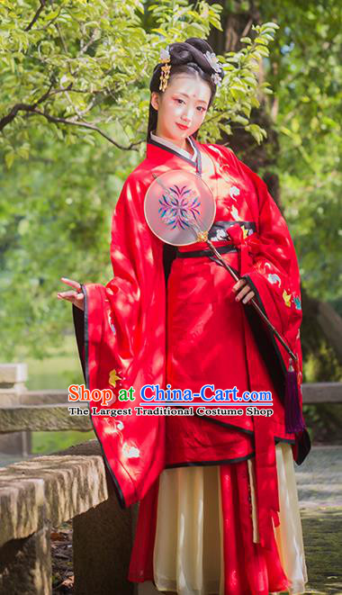 Chinese Traditional Han Dynasty Royal Princess Embroidered Hanfu Dress Ancient Patrician Lady Red Apparels Historical Costumes Complete Set