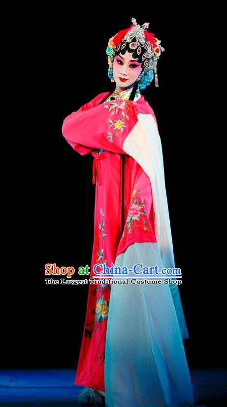 Chinese Sichuan Opera Actress Li Huiniang Red Plum Garment Costumes and Hair Accessories Traditional Peking Opera Hua Tan Dress Young Female Apparels