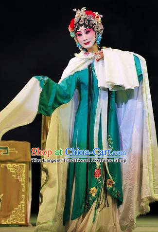 Chinese Sichuan Opera Hua Tan Li Huiniang Red Plum Garment Costumes and Hair Accessories Traditional Peking Opera Young Female Green Dress Apparels