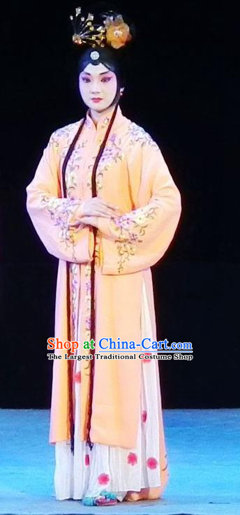 Chinese Sichuan Opera Young Lady Red Plum Garment Costumes and Hair Accessories Traditional Peking Opera Hua Tan Yellow Dress Actress Apparels