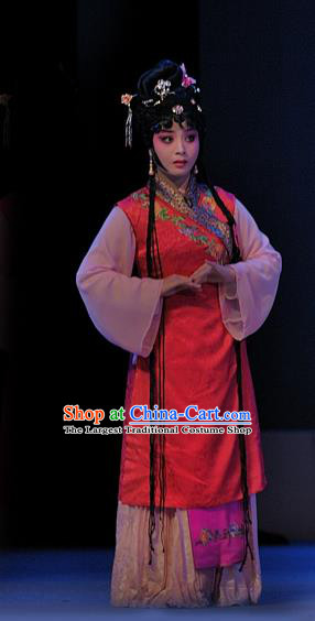 Chinese Sichuan Opera Xiaodan Garment Costumes and Hair Accessories Traditional Peking Opera Xue Baochai Dress Servant Girl Hua Xiren Apparels