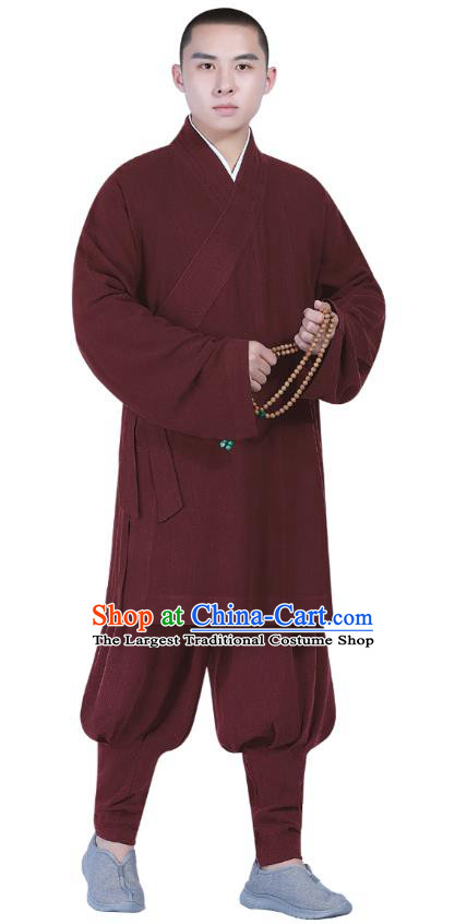 Chinese Traditional Monk Costume National Clothing Buddhism Wine Red Shirt and Pants for Men