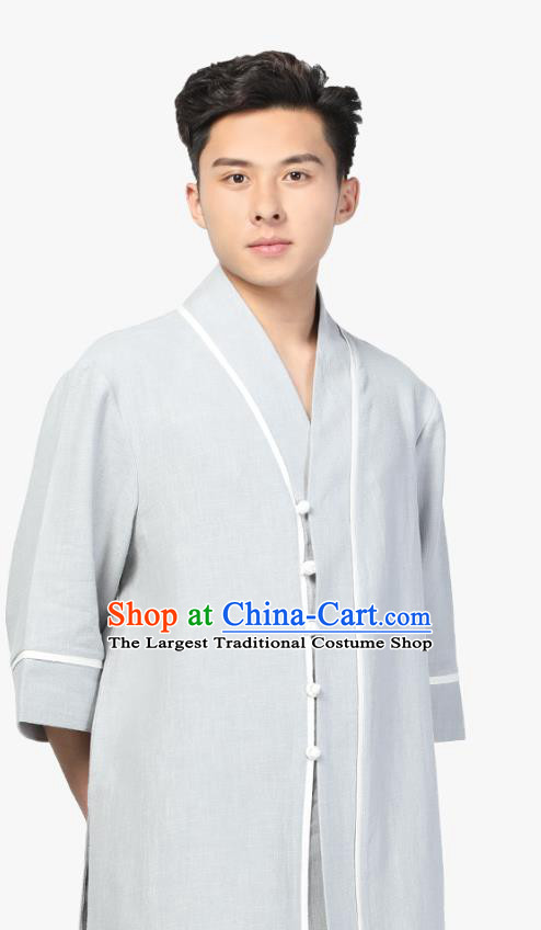 Chinese Traditional Tang Suit Upper Outer Garment Costume National Clothing Light Grey Ramie Shirt for Men
