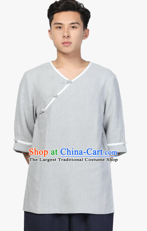 Chinese Traditional Tang Suit Costume National Clothing Slant Opening Grey Ramie Shirt Upper Outer Garment for Men