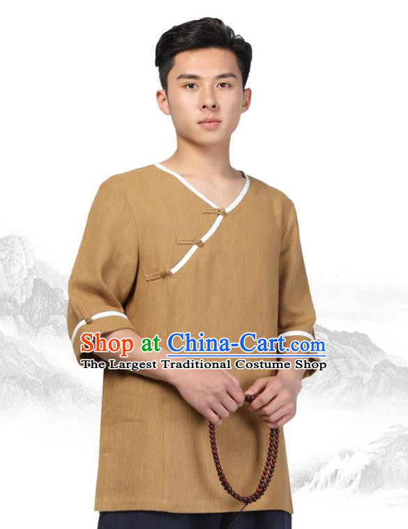 Chinese Traditional Tang Suit Costume National Clothing Slant Opening Khaki Ramie Shirt Upper Outer Garment for Men