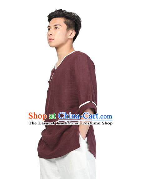 Chinese Traditional Tang Suit Costume National Clothing Slant Opening Wine Red Ramie Shirt Upper Outer Garment for Men