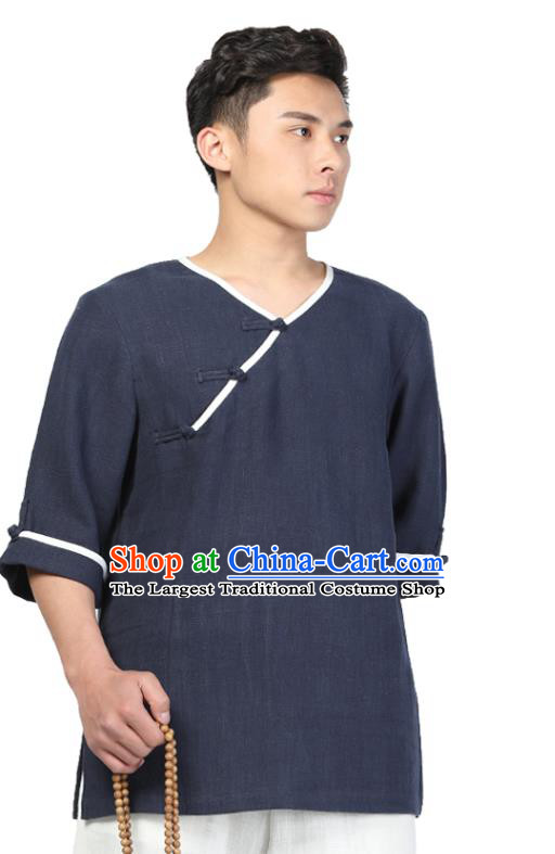 Chinese Traditional Tang Suit Costume National Clothing Slant Opening Navy Ramie Shirt Upper Outer Garment for Men