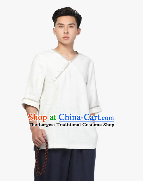 Chinese Traditional Tang Suit Costume National Clothing Slant Opening White Ramie Shirt Upper Outer Garment for Men