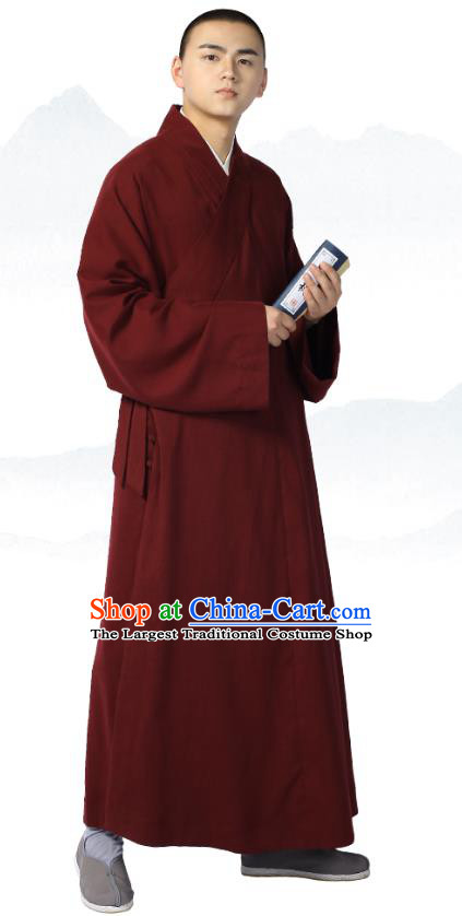 Chinese Traditional Frock Costume Buddhism Clothing Garment Wine Red Monk Robe for Men
