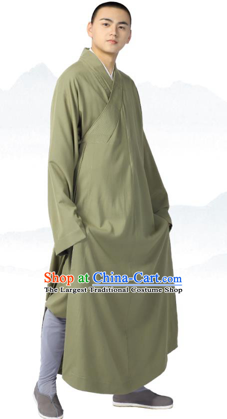 Chinese Traditional Frock Costume Buddhism Clothing Garment Light Green Monk Robe for Men