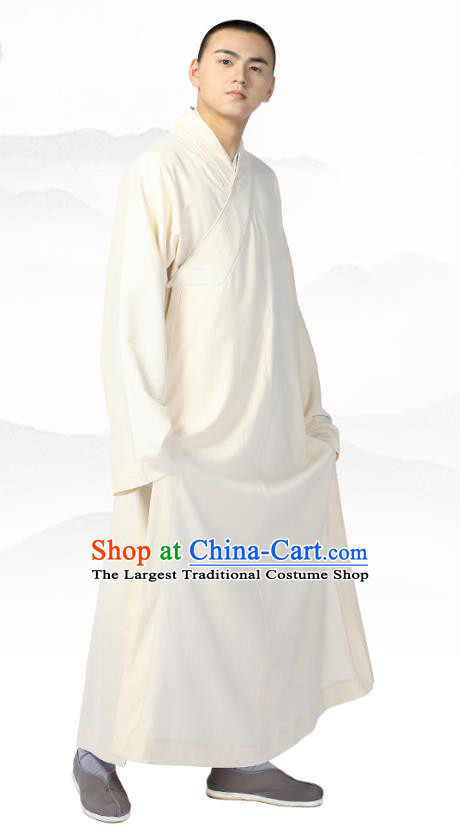 Chinese Traditional Frock Costume Buddhism Clothing Garment Beige Monk Robe for Men