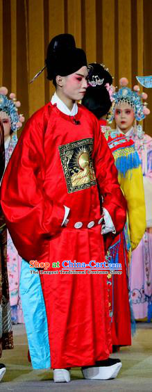 Jin Dian Shen La Chinese Sichuan Opera Young Male Apparels Costumes and Headpieces Peking Opera Xiaosheng Garment Number One Scholar Clothing