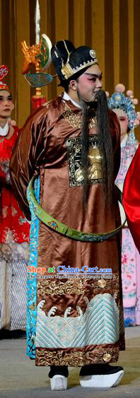 Jin Dian Shen La Chinese Sichuan Opera Laosheng Apparels Costumes and Headpieces Peking Opera Official Garment Elderly Male Clothing