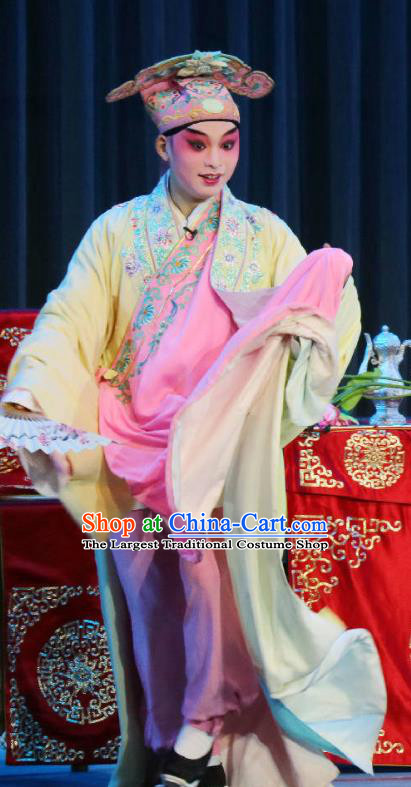 Bi Bo Hong Lian Chinese Sichuan Opera Scholar Jin Wangsun Apparels Costumes and Headpieces Peking Opera Young Male Garment Xiaosheng Clothing