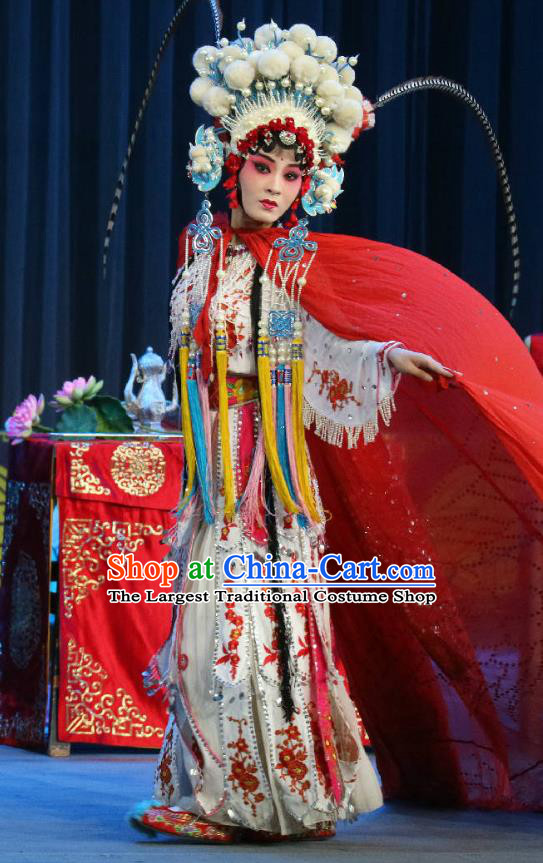Chinese Sichuan Opera Actress Xia Gu Garment Costumes and Hair Accessories Traditional Peking Opera Bi Bo Hong Lian Hua Tan Dress Princess Apparels