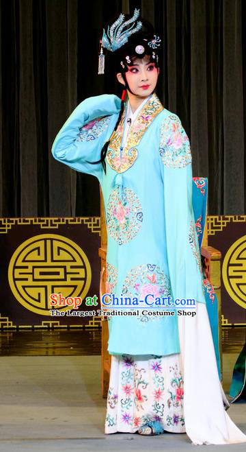 Chinese Sichuan Opera Diva Zhao Rong Garment Costumes and Hair Accessories Traditional Peking Opera Zhai Hong Mei Young Female Blue Dress Actress Apparels