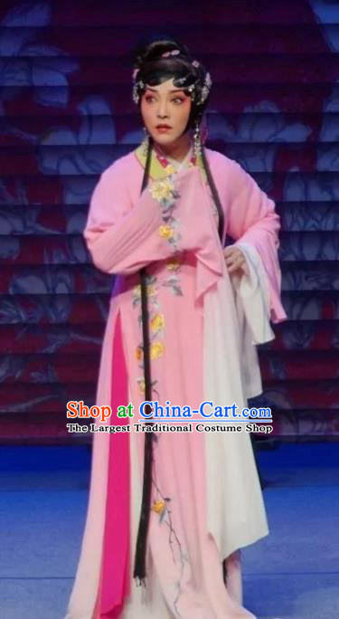Chinese Sichuan Opera Courtesan Li Yaxian Garment Costumes and Hair Accessories Traditional Peking Opera Actress Dress Hua Tan Pink Apparels
