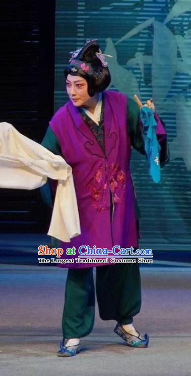 Chinese Sichuan Opera Elderly Female Garment Costumes and Hair Accessories Li Yaxian Traditional Peking Opera Dame Dress Apparels