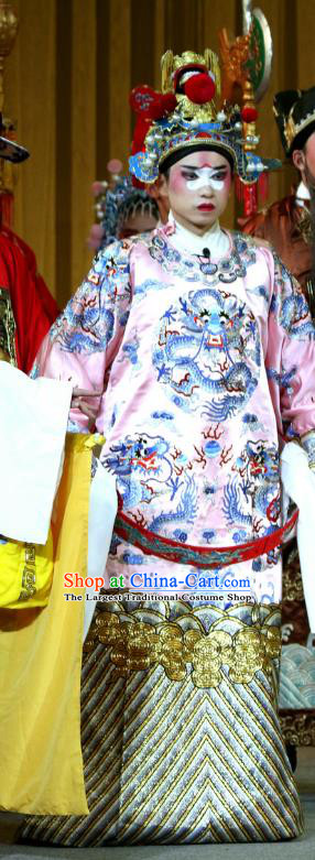 Jin Dian Shen La Chinese Sichuan Opera Young Male Apparels Costumes and Headpieces Peking Opera Official Garment Python Embroidered Robe Clothing