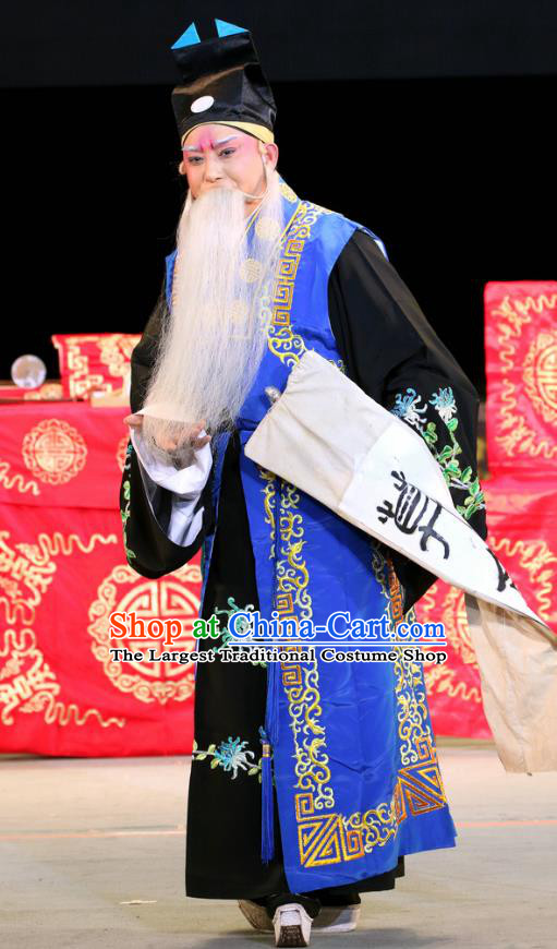 Sheng Si Pai Chinese Sichuan Opera Old Man Apparels Costumes and Headpieces Peking Opera Taoist Priest Garment Clothing