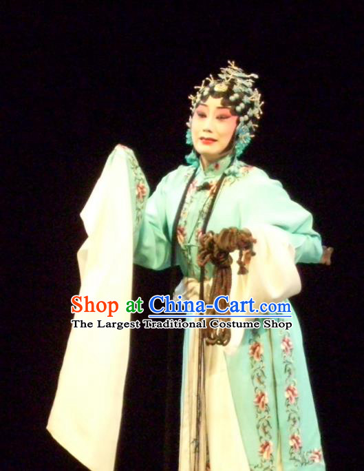 Chinese Sichuan Opera Young Female Garment Costumes and Hair Accessories Ma Qian Po Shui Traditional Peking Opera Actress Dress Diva Cui Qiaofeng Apparels