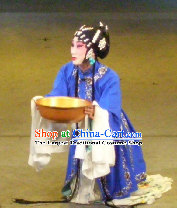 Chinese Sichuan Opera Tsing Yi Garment Costumes and Hair Accessories Ma Qian Po Shui Traditional Peking Opera Actress Cui Qiaofeng Dress Distress Woman Apparels