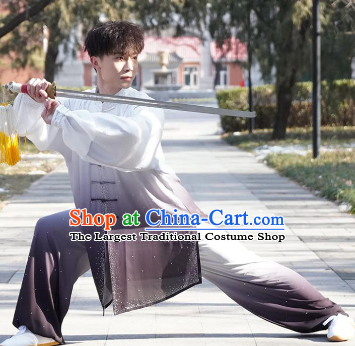 Top Male Kung Fu Costume Martial Arts Training Uniform Shaolin Wushu Clothing Tai Ji Competition Outfits