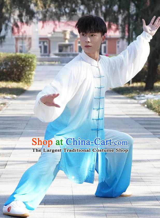 Top Male Kung Fu Costume Martial Arts Training Uniform Shaolin Wushu Clothing Tai Ji Competition Gradient Blue Outfits