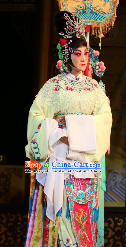 Chinese Sichuan Opera Hua Tan Garment Costumes and Hair Accessories Jiang Xiao Lou Traditional Peking Opera Young Female Dress Imperial Consort Apparels